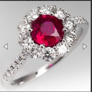 Jewelry - Ruby diamond ring with a halo